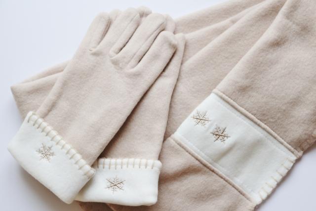 本番前の冷たい手を手袋であたためる