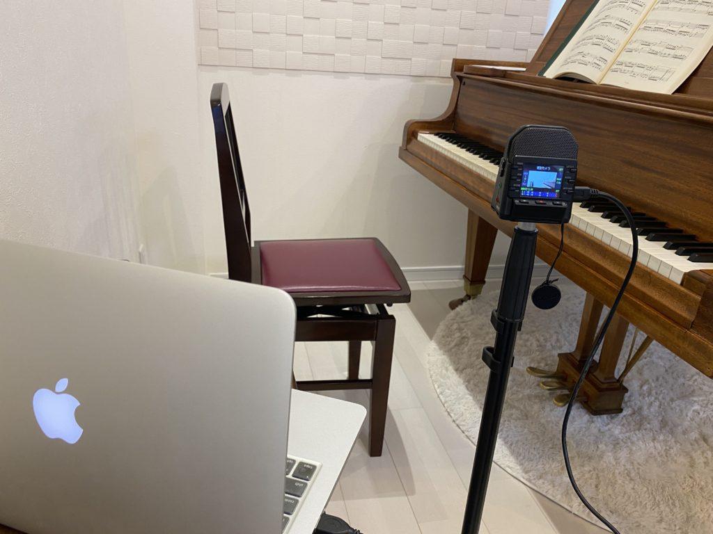 Q2n-4Kでピアノのオンラインレッスンを行うセッティング