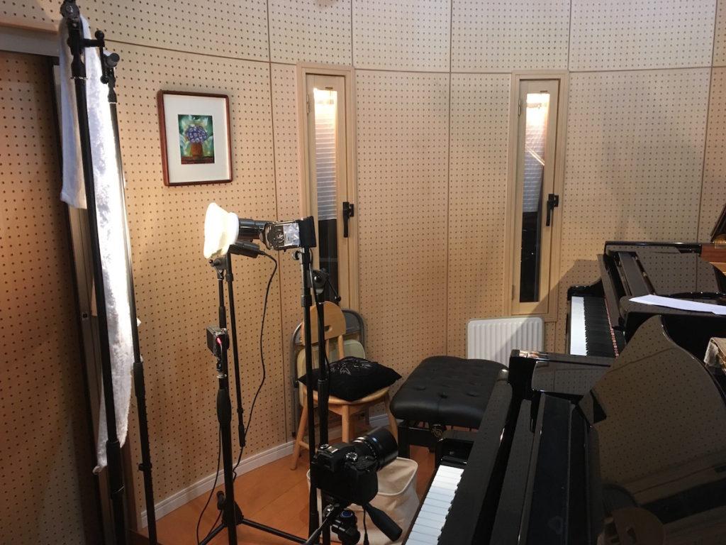 自宅でピアノ演奏動画撮影セッティングの様子